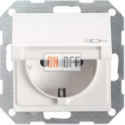Розетка 1-ая электрическая , с заземлением и крышкой , цвет Белый, Gira