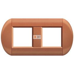 Рамка 2-ая (двойная) овальная, цвет Сиена, LivingLight, Bticino