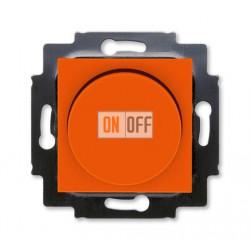 Диммер поворотно-нажимной , 600Вт для ламп накаливания, цвет Оранжевый/Дымчатый черный, Levit, ABB