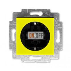 Розетка 1-ая электрическая , с заземлением и защитными шторками (безвинтовой зажим), цвет Желтый/Дымчатый черный, Levit, ABB