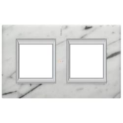 Рамка 2-ая (двойная) прямоугольная, цвет Белый мрамор Каррара, Axolute, Bticino