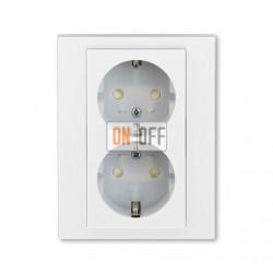 Розетка 2-ая электрическая с заземлением с защитными шторками, цвет Белый/Ледяной, Levit, ABB