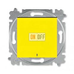 Выключатель 1-клавишный ,проходной с подсветкой (с двух мест), цвет Желтый/Дымчатый черный, Levit, ABB