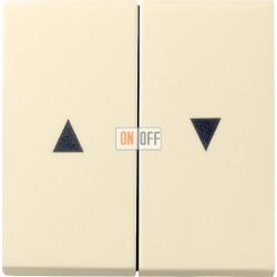 Выключатель для жалюзи (рольставней) кнопочный, цвет Бежевый, Gira