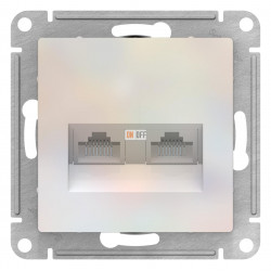 Розетка компьютерная 2-ая кат.5е, RJ-45 (интернет), Жемчуг, серия Atlas Design, Schneider Electric