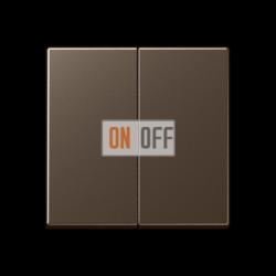 Выключатель 2-клавишный проходной (с двух мест), цветМокка,A500,Jung