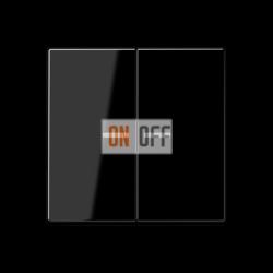 Выключатель 2-клавишный , с подсветкой, цвет Черный, A500, Jung