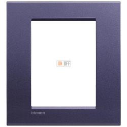 Рамка итальянский стандарт 3+3 мод прямоугольная, цвет Синий шелк, LivingLight, Bticino