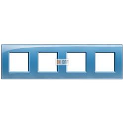 Рамка 4-ая (четверная) прямоугольная, цвет Голубой, LivingLight, Bticino