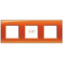 Рамка 3-ая (тройная) прямоугольная, цвет Оранжевый, LivingLight, Bticino