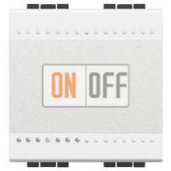 Выключатель 1-клавишный; кнопочный (винтовые клеммы), цвет Белый, LivingLight, Bticino