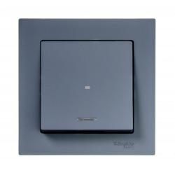 Выключатель 1-клавишный , с подсветкой, Грифель, серия Atlas Design, Schneider Electric