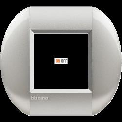 Рамка 1-ая (одинарная) овальная, цвет Алюминий, LivingLight, Bticino