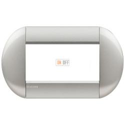 Рамка итальянский стандарт 4 мод овальная, цвет Алюминий, LivingLight, Bticino