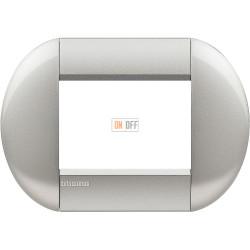 Рамка итальянский стандарт 3 мод овальная, цвет Алюминий, LivingLight, Bticino