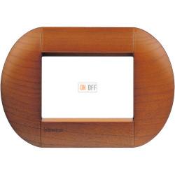 Рамка итальянский стандарт 3 мод овальная, цвет Дерево Вишня (американская), LivingLight, Bticino