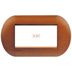 Рамка итальянский стандарт 4 мод овальная, цвет Дерево Вишня (американская), LivingLight, Bticino