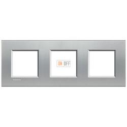 Рамка 3-ая (тройная) прямоугольная, цвет Алюминий, LivingLight, Bticino