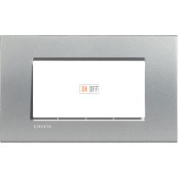 Рамка итальянский стандарт 4 мод прямоугольная, цвет Алюминий, LivingLight, Bticino