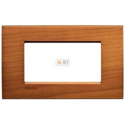 Рамка итальянский стандарт 4 мод прямоугольная, цвет Дерево Вишня (американская), LivingLight, Bticino