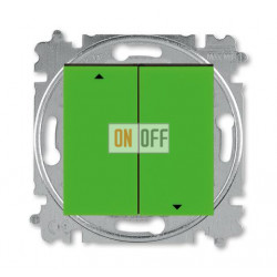Выключатель для жалюзи (рольставней) кнопочный, цвет Зеленый/Дымчатый черный, Levit, ABB