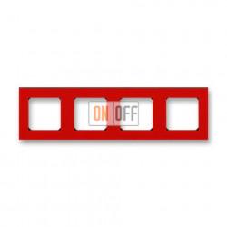 Рамка 4-ая (четверная), цвет Красный/Дымчатый черный, Levit, ABB