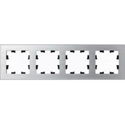 Рамка 4-ая (четверная), Металл Серебро, серия Atlas Design Nature, Schneider Electric