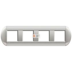 Рамка 4-ая (четверная) овальная, цвет Алюминий, LivingLight, Bticino