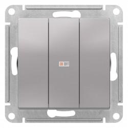 Выключатель 3-клавишный, Алюминий, серия Atlas Design, Schneider Electric
