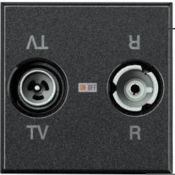 Розетка телевизионная оконечная ТV-FМ, цвет Антрацит, Axolute, Bticino