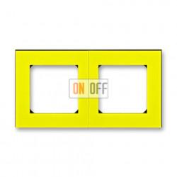 Рамка 2-ая (двойная), цвет Желтый/Дымчатый черный, Levit, ABB