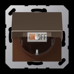 Розетка с/з с крышкой, цвет Мокка, JUNG A500
