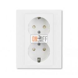 Розетка 2-ая электрическая с заземлением с защитными шторками, цвет Белый/Белый, Levit, ABB