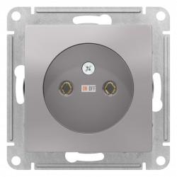 Розетка 1-ая электрическая без заземления, Алюминий, серия Atlas Design, Schneider Electric