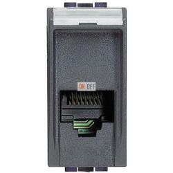 Установочная розетка телефонная 1-ая 4 контакта, RJ-11 1 мод, цвет Антрацит, LivingLight, Bticino