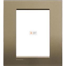 Рамка итальянский стандарт 3+3 мод прямоугольная, цвет Коричневый шелк, LivingLight, Bticino
