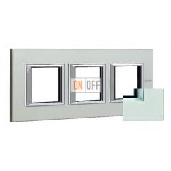 Рамка 3-ая (тройная) прямоугольная, цвет Жемчужное серебро, Axolute, Bticino