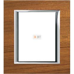 Рамка итальянский стандарт 3+3 мод прямоугольная, цвет Дерево Тиковое, Axolute, Bticino
