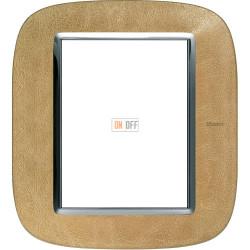 Рамка итальянский стандарт 3+3 мод эллипс, цвет Кожа Песок, Axolute, Bticino