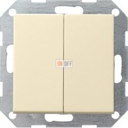 Выключатель 2-клавишный; кнопочный, цвет Бежевый, Gira