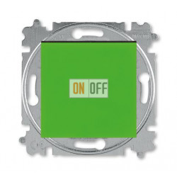 Выключатель 1-клавишный; кнопочный с двух мест, цвет Зеленый/Дымчатый черный, Levit, ABB