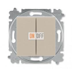 Выключатель 2-клавишный проходной (с двух мест), цвет Макиато/Белый, Levit, ABB
