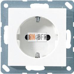 Розетка 1-ая электрическая , с заземлением и защитными шторками (винтовой зажим), цвет Белый, A500, Jung