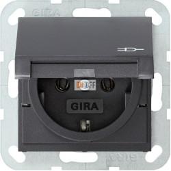 Розетка 1-ая электрическая , с заземлением и крышкой , цвет Антрацит, Gira