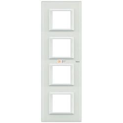 Рамка 4-ая (четверная) прямоугольная вертикальная, цвет Стекло Белое, Axolute, Bticino