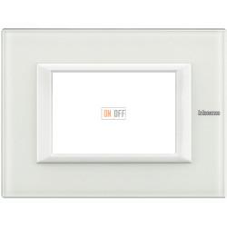 Рамка итальянский стандарт 3 мод прямоугольная, цвет Стекло Белое, Axolute, Bticino