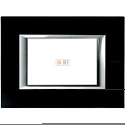 Рамка итальянский стандарт 3 мод прямоугольная, цвет Стекло Черное, Axolute, Bticino