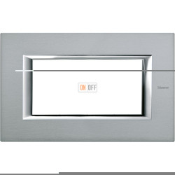 Рамка итальянский стандарт 4 мод прямоугольная, цвет Темное серебро, Axolute, Bticino