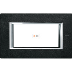 Рамка итальянский стандарт 4 мод прямоугольная, цвет Черный мрамор Ардезия, Axolute, Bticino