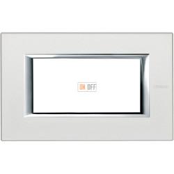 Рамка итальянский стандарт 4 мод прямоугольная, цвет Жемчужное серебро, Axolute, Bticino